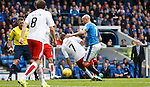 Ref John McKendrick watches as Tom Taiwo fouls Nicky Law for the free-kick leading to Rangers goal from James Tavernier