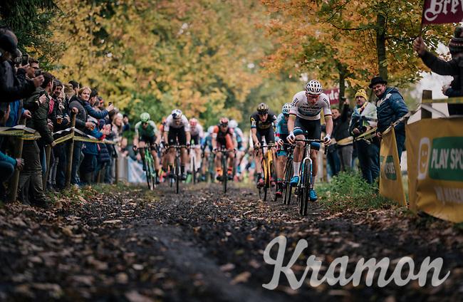 Right off the start, Mathieu van der Poel (NED/Corendon-Circus) takes control of the race<br /> <br /> Men's race<br /> Superprestige Asper-Gavere 2018 (BEL)