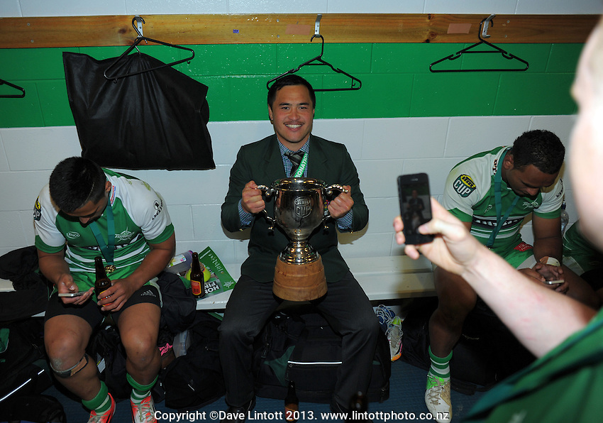 Injured halfback Papa Wharewera celebrates winning the ITM Cup rugby championship final match between Manawatu Turbos and Hawkes Bay Magpies at FMG Stadium, Palmerston North, New Zealand on Friday, 24 October 2014. Photo: Dave Lintott / lintottphoto.co.nz