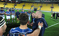 The Auckland team huddles after the Mitre 10 Cup rugby match between Wellington Lions and Auckland at Westpac Stadium in Wellington, New Zealand on Thursday, 4 October 2018. Photo: Dave Lintott / lintottphoto.co.nz