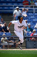 Binghamton Rumble Ponies shortstop Gustavo Nunez (10) runs to first base during a game against the Hartford Yard Goats on July 9, 2017 at NYSEG Stadium in Binghamton, New York.  Hartford defeated Binghamton 7-3.  (Mike Janes/Four Seam Images)