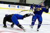 Niclas Edman (Sweden - 5), Calle Klingberg (Sweden - 17) - Team Sweden practiced at the Urban Plains Center in Fargo, North Dakota, on Saturday, April 18, 2009 in the morning prior to their final match against the Czech Republic during the 2009 World Under 18 Championship.