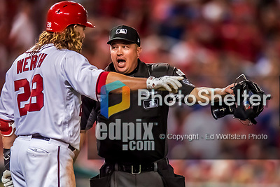 6 October 2017: MLB umpire Cory Blaser discusses a call with Washington Nationals outfielder Jayson Werth during the first game of the NLDS between the Washington Nationals and the Chicago Cubs at Nationals Park in Washington, DC. The Cubs shut out the Nationals 3-0 to take a 1-0 lead in their best of five Postseason series. Mandatory Credit: Ed Wolfstein Photo *** RAW (NEF) Image File Available ***