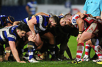 Shaun Knight of Bath Rugby prepares to scrummage against his opposite number. Anglo-Welsh Cup match, between Bath Rugby and Gloucester Rugby on January 27, 2017 at the Recreation Ground in Bath, England. Photo by: Patrick Khachfe / Onside Images