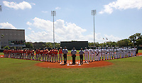 Netherlands National Team and Detroit Tigers line up for the National anthem before a spring training exhibition game at Al Lang Field on March 8, 2012 in St. Petersburg, Florida.  (Mike Janes/Four Seam Images)