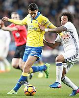 Real Madrid's Marcelo Vieira (r) and UD Las Palmas' Vicente Gomez during La Liga match. March 1,2017. (ALTERPHOTOS/Acero) /NORTEPHOTOmex