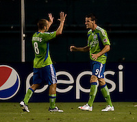 Sebastien Le Toux, Peter Vagenas. The Seattle Sounders defeated DC United, 2-1, to win the 2009 Lamr Hunt U.S. Open Cup at RFK Stadium in Washington, DC.