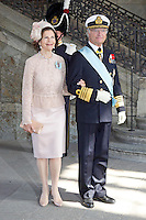 The royal christening of Crown Princess Victoria and Prince Daniel's daughter Princess Estelle Silvia Ewa Mary of Sweden, in the Royal Chapel in Stockholm, 22.05.2012...Picture shows: King Carl XVI Gustaf and Queen Silvia of Sweden...Credit: Stella Pictures/face to face..- Germany, Austria, Switzerland and USA rights only - / Mediapunchinc