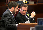 Nevada Senate Republicans Michael Roberson, left, and Ben Kieckhefer work on the Senate floor at the Legislative Building in Carson City, Nev., on Monday, April 15, 2013. .Photo by Cathleen Allison