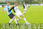 Damien Locke.(Tralee Celtic).takes advantage.of Mossie.O  C o n n o r.(Shannon Wanderers).by beating.him to the.ball in the Celsius.Cup at.M o u n t h aw k.Park, Tralee, on.Saturday.