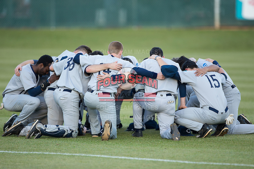The Catawba Indians huddle up prior to the game against the Belmont Abbey Crusaders at Abbey Yard on February 7, 2017 in Belmont, North Carolina.  The Crusaders defeated the Indians 12-9.  (Brian Westerholt/Four Seam Images)