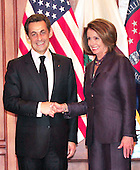 Washington, D.C. - March 30, 2010 -- President Nicolas Sarkozy of France shakes hands with the Speaker of the United States House of Representatives Nancy Pelosi (Democrat of California) as he arrives for a visit in the U.S. Capitol on Tuesday, March 30, 2010..Credit: Ron Sachs / CNPWashington, D.C. - March 30, 2010 -- President Nicolas Sarkozy of France visits the Speaker of the United States House of Representatives Nancy Pelosi (Democrat of California) in the U.S. Capitol on Tuesday, March 30, 2010..Credit: Ron Sachs / CNP