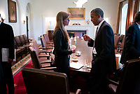 The Final Year (2017)<br /> President Barack Obama talks with Amb. Samantha Power, U.S. Permanent Representative to the United Nations, following a Cabinet meeting in the Cabinet Room of the White House, Sept. 12, 2013. <br /> *Filmstill - Editorial Use Only*<br /> CAP/KFS<br /> Image supplied by Capital Pictures