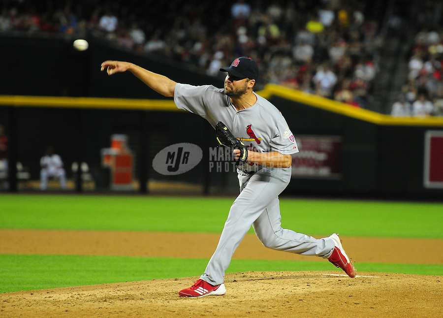 May 8, 2012; Phoenix, AZ, USA; St. Louis Cardinals pitcher Jake Westbrook throws in the fourth inning against the Arizona Diamondbacks at Chase Field. Mandatory Credit: Mark J. Rebilas-