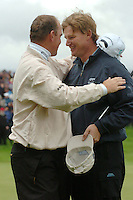 THOMASTOWN, IRELAND. Thomas Bjorn congratulates Ernie Els on winning the American Express Championship by one shot at the Mount Juliet Golf Club on October 3rd, 2004 in Thomastown, Ireland ..Photo AFP/NEWSFILE/FRAN CAFFREY..(Photo credit should read FRAN CAFFREY/NEWSFILE/AFP)...This Picture has been sent you under the condtions enclosed by:.Newsfile Ltd..the Studio,.Millmount Abbey,.Drogheda,.Co Meath..Ireland..Tel: +353(0)41-9871240.Fax: +353(0)41-9871260.GSM: +353(0)86-2500958.email: pictures@newsfile.ie.www.newsfile.ie.FTP: 193.120.102.198..This picture is from Fran Caffrey@newsfile.ie