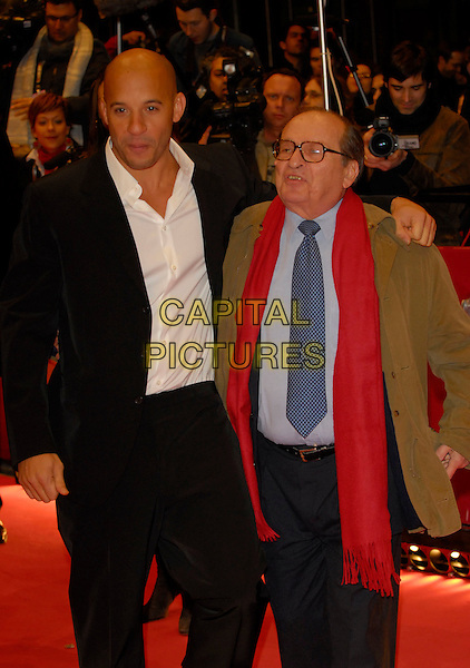 "VIN DIESEL & SIDNEY LUMET.Premiere of ""Find Me Guilty"" at the 56th Berlin International Film Festival (Berlinale) in Berlin, Germany..February 16, 2006 .Ref: KRA.half length black suit jacket green coat red scarf.www.capitalpictures.com.sales@capitalpictures.com.©Capital Pictures"