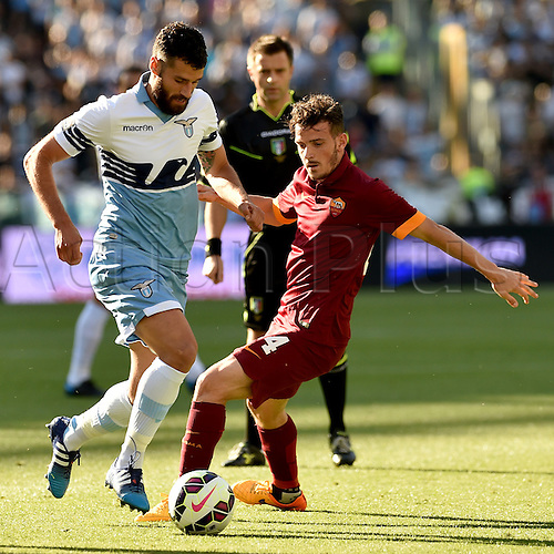 25.05.2015.  Rome, Italy. Serie A Football. Lazio versus Roma. Antonio Candreva and Alessandro Florenzi fight for the ball