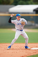 Central Connecticut State Blue Devils second baseman Dean Lockery (2) during warmups before a game against the North Dakota State Bison on February 23, 2018 at North Charlotte Regional Park in Port Charlotte, Florida.  North Dakota State defeated Connecticut State 2-0.  (Mike Janes/Four Seam Images)