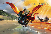 Interlitho, Jason, FANTASY, paintings, dragon, beach, wreck, KL, KL4059,#fantasy# illustrations, pinturas