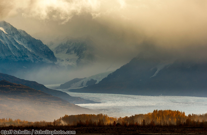 Fall landscape of clouds over Knik Glacier with Chugach Mountains.  Matanuska Valley, Alaska<br /> <br /> Photo by Jeff Schultz/SchultzPhoto.com  (C) 2018  ALL RIGHTS RESERVED<br /> <br /> David Young 2018 October Photo tour/workshop