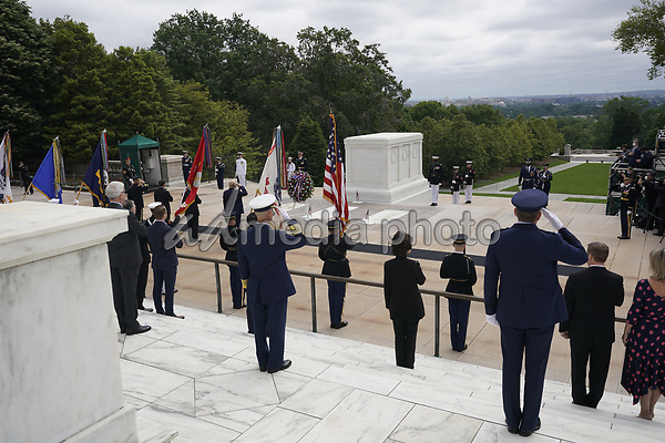 United States President Donald J Trump and First lady Melania Trump commemorate Memorial Day by participating in a Wreath Laying ceremony the Tomb of the Unknown Soldiers at Arlington National Cemetery in Arlington, Virginia on Monday, May 25, 2020.<br /> Credit: Chris Kleponis / Pool via CNP/AdMedia
