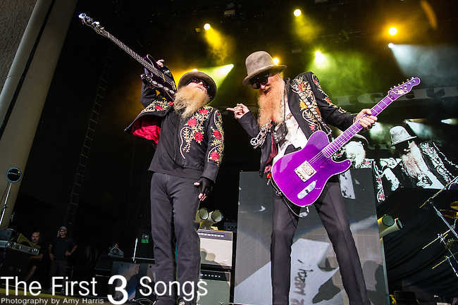 Dusty Hill and Billy Gibbons of ZZ Top perform at the Klipsch Music Center in Indianapolis, Indiana.