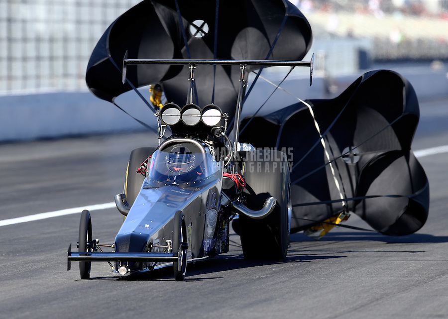 Feb 12, 2016; Pomona, CA, USA; NHRA top alcohol dragster driver Joey Severance during qualifying for the Winternationals at Auto Club Raceway at Pomona. Mandatory Credit: Mark J. Rebilas-USA TODAY Sports