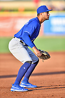 Biloxi Shuckers third baseman Jake Gatewood (7) during a game against the Tennessee Smokies at  on August 10, 2019 in Kodak, Tennessee. The Shuckers defeated the Smokies 7-3. (Tony Farlow/Four Seam Images)