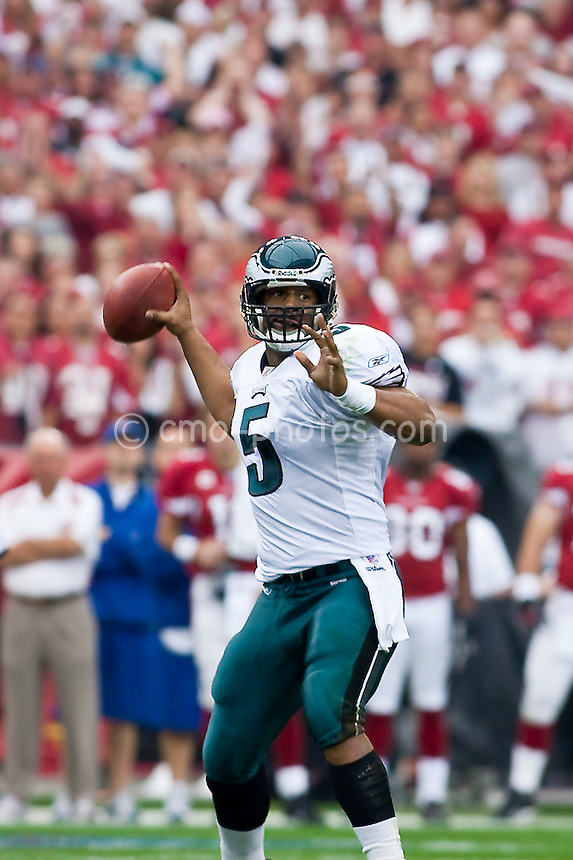 Jan 18, 2009; Glendale, AZ, USA; Philadelphia Eagles quarterback Donovan McNabb (5) drops back to pass the ball in the first half of the NFC Championship Game against the Arizona Cardinals at University of Phoenix Stadium.  The Cardinals won the game 32-25 to advance to Super Bowl XLIII.