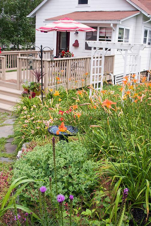 Backyard deck and house, with old-fashioned and heirloom flowering plants: perennial garden, daylilies Hemerocallis, Liatris, Sedum, container plants, trellis, umbrella