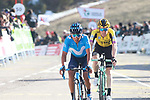 Nairo Quintana (COL) Movistar Team and Steven Kruijswijk(NED) Team Jumbo-Visma cross the finish line at the end of Stage 4 of the Volta Ciclista a Catalunya 2019 running 150.3km from Llanars (Vall De Camprodon) to La Molina (Alp), Spain. 28th March 2019.<br /> Picture: Colin Flockton | Cyclefile<br /> <br /> <br /> All photos usage must carry mandatory copyright credit (© Cyclefile | Colin Flockton)