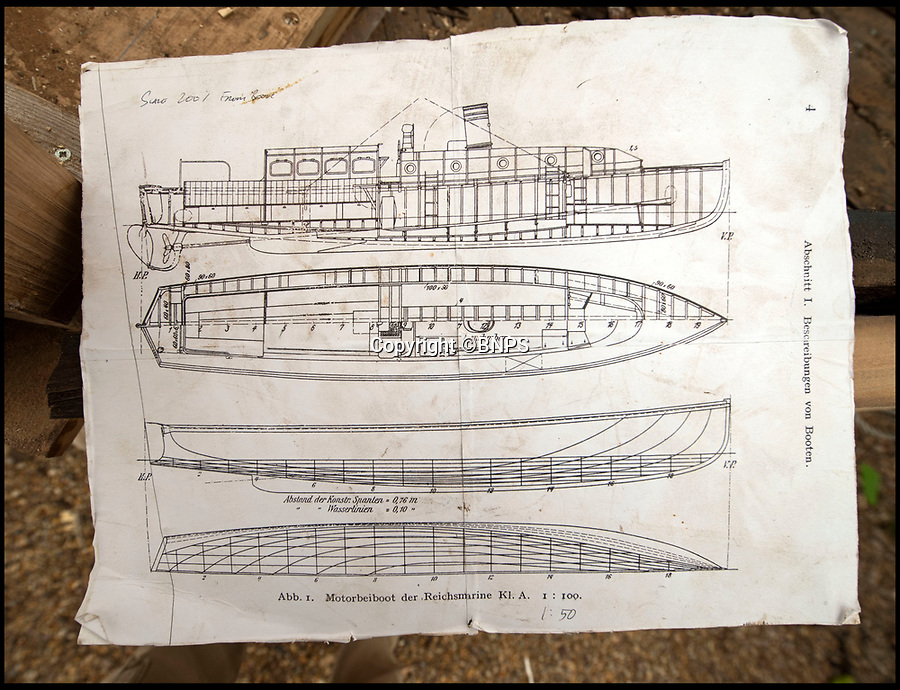 BNPS.co.uk (01202 558833)<br /> Pic: PhilYeomans/BNPS<br /> <br /> The original German plans for the 'Count'<br /> <br /> Back from the dead - Count Dracula, the Dunkirk little ship that refuses to die.<br /> <br /> A boat yard owner is helping to restore the German-built 'little ship' which rescued his father and 711 other men from Dunkirk.<br /> <br /> David Wilson is one of the men painstakingly restoring the Count Dracula which carried his father Sergeant William Wilson and his fellow engineers home during Operation Dynamo. <br /> <br /> Sgt Norman was left behind with a group of engineers to blow up a bridge then they made their way along the coast looking for a means to escape.<br /> <br /> They found this boat with the crew washed up on a mud bank and the mechanic with them managed to jury rig the gear box to allow them to set off.<br /> <br /> The 50ft long ship had a remarkable existence even prior to Dunkirk as it was built for the German navy in 1913.