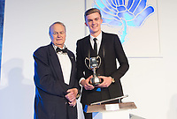 Picture by Allan McKenzie/SWpix.com - 05/10/17 - Cricket - Yorkshire County Cricket Club Gala Dinner 2017 - Elland Road, Leeds, England - Jack Shutt takes the Second Team Performance Award.