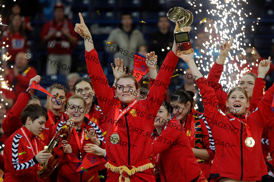 BELGRADE, SERBIA - DECEMBER 16: Montenegro handball team celebrate gold medal with the trophy during the Women's European Handball Championship 2012 medal ceremony at Arena Hall on December 16, 2012 in Belgrade, Serbia. (Photo by Srdjan Stevanovic/Getty Images)