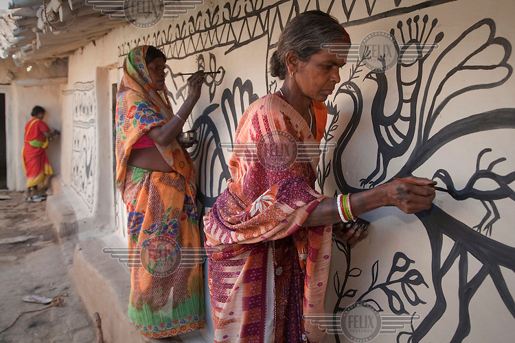 Female tribal artists decorating a courtyard in the village of Jorakath in preparation for a wedding ceremony. The painting traditions of Khovar (for weddings) and Sohrai (for harvest festivals) have been handed down from mothers to daughters for generations but is becoming rarer as traditional mud buildings are replaced with brick construction and as pressure from mining impacts on traditional village life..