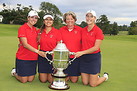 Kristen Gillman, Lilia Vu, Jennifer Kupcho and Team Captain Stasia Collins Team USA with the Espirito Santo Trophy after the final of the World Amateur Team Championships 2018, Carton House, Kildare, Ireland. 01/09/2018.<br /> Picture Fran Caffrey / Golffile.ie<br /> <br /> All photo usage must carry mandatory copyright credit (&copy; Golffile | Fran Caffrey)