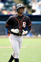 June 8, 2008: Fresno Grizzlies' Eugenio Velez jogs down to first base after working a walk during a Pacific Coast League game against the Tacoma Rainiers at Cheney Stadium in Tacoma, Washington.