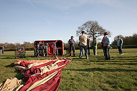 The balloon's nylon envelope lying on the ground prior to inflation, British School of ballooning, Ebernoe, West Sussex.