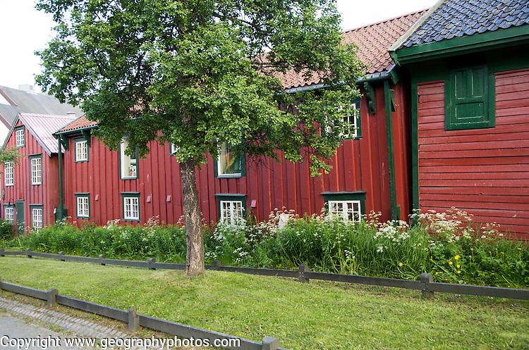 Historic buildings in the oldest part of city of Tromso, Norway