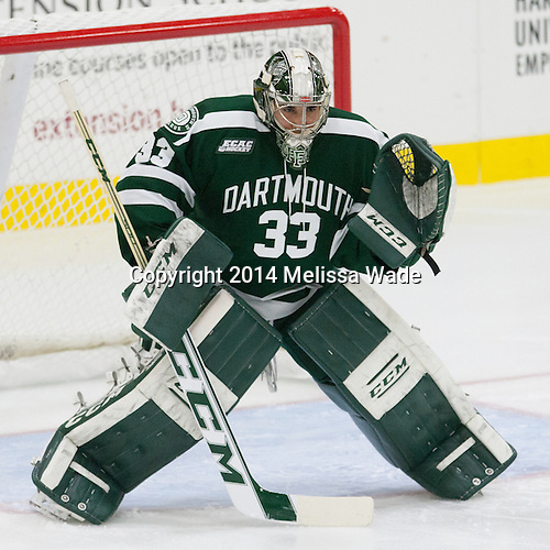 Devin Buffalo (Dartmouth - 33) - The Harvard University Crimson tied the visiting Dartmouth College Big Green 3-3 in both team's first game of the season on Saturday, November 1, 2014, at Bright-Landry Hockey Center in Cambridge, Massachusetts.