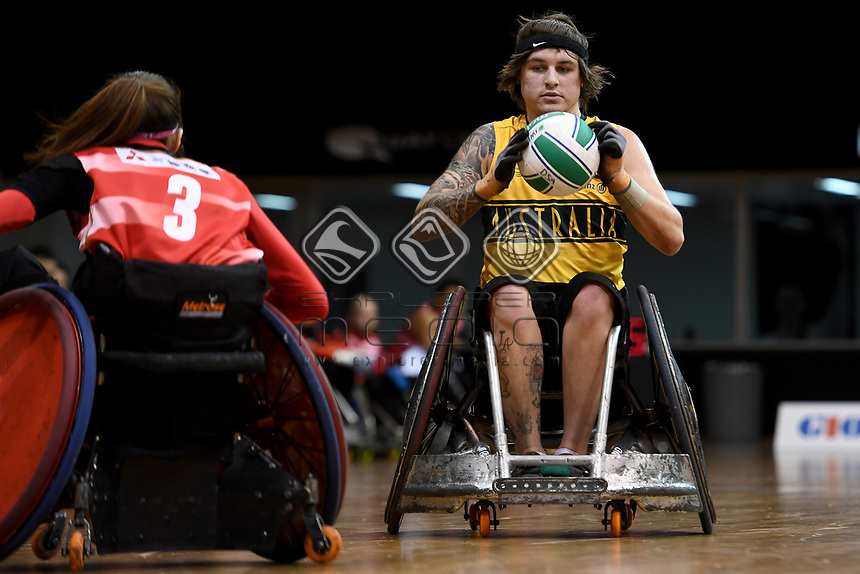 Jayden Warn (AUS) vs Japan<br /> Australian Wheelchair Rugby Team<br /> 2018 IWRF WheelChair Rugby <br /> World Championship / Day 4<br /> Sydney  NSW Australia<br /> Wednesday 8th August 2018<br /> &copy; Sport the library / Jeff Crow / APC
