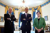 United States President Barack Obama and U.S. Vice President Joe Biden stand with U.S. Solicitor General Elena Kagan in the Blue Room of the White House, Monday, May 10, 2010, prior to announcing Kagan as his choice to replace retiring Justice John Paul Stevens in the Supreme Court.  .Mandatory Credit: Pete Souza - White House via CNP