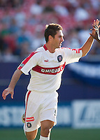 Ante Razov of the Fire celebrates scoring the game winning goal in the 86 minute. The Chicago Fire defeated the NY/NJ MetroStars 2-1 on 8/24/03 at Giant's Stadium, NJ..