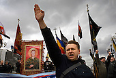 "Russian Neo-Nazis chant ""sieg heil"" in Moscow during a demonstration to celebrate Hitler's birthday. Russia is experiencing a surge of extremism, sometimes resulting in violent attacks on foreigners."