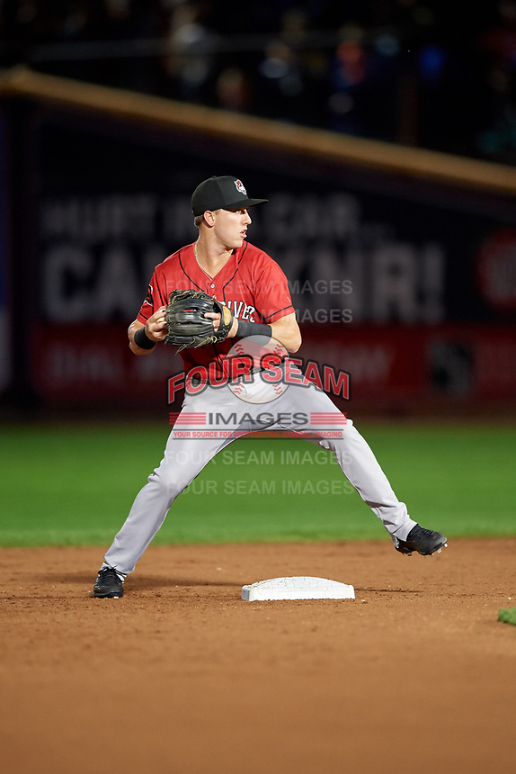 Erie SeaWolves second baseman Kody Clemens (8) throws to first base during an Eastern League game against the Akron RubberDucks on August 30, 2019 at Canal Park in Akron, Ohio.  Erie defeated Akron 3-2.  (Mike Janes/Four Seam Images)
