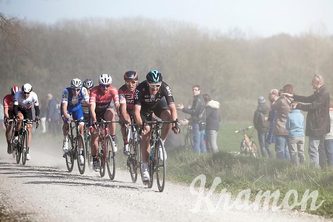 Later winner Greg Van Avermaet (BEL/BMC) following Ian Stannard (GBR/Sky) on the dusty Plugstreets<br /> <br /> 79th Gent - Wevelgem 2017 (1.UWT)