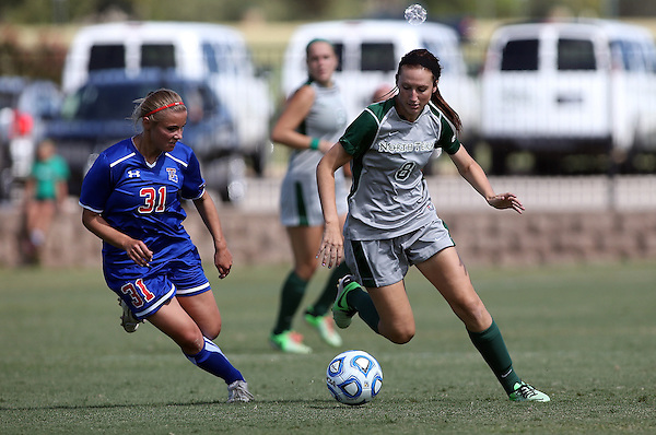 DENTON, TX - SEPTEMBER 29: Leah Cox #8 of the North Texas Mean Green - North Texas Mean Green Soccer vs Louisiana Tech at the Mean Green Village Soccer Field in Denton on September 29, 2013 in Denton, Texas. Photo by Rick Yeatts