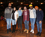 "Nicholas Christopher, Lauren Boyd, Raven Thomas, Giuseppe Bausilio, Deon'te Goodman and Terrance Spencer during the eduHAM Q & A before The Rockefeller Foundation and The Gilder Lehrman Institute of American History sponsored High School student #EduHam matinee performance of ""Hamilton"" at the Richard Rodgers Theatre on December 11, 2019 in New York City."