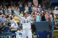 Washington, DC - August 3, 2014: Milos Raonic of Canada celebrates winning the Citi Open in straight sets over fellow Canadian Vasek Pospisil, August 3, 2014.  (Photo by Don Baxter/Media Images International)