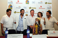 """Itatí Cantoral y Damián Alcazar durante una rueda de prensa para  presentar la filmación de la película """"Hagase tu voluntad"""", una película de Carlos Lian, y que tiene como locación lugares de Quintana roo como la isla de Holbox, e Isla Mujeres.<br /> ElizabethRuiz/NortePhoto"""